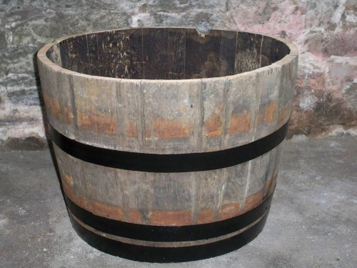 Half Oak Whisky Barrel Planter W Painted Bands 63cm Diameter