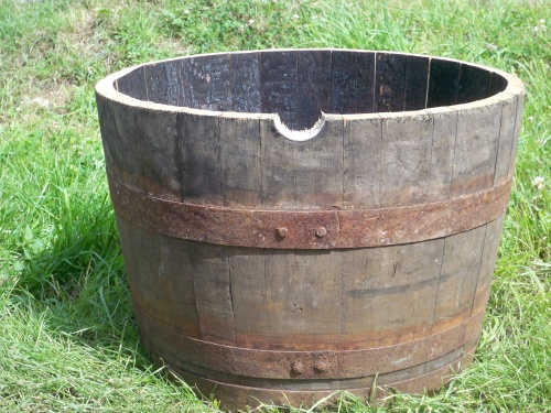 Half Oak Whisky Barrel Planter With Natural Bands 63cm Diameter