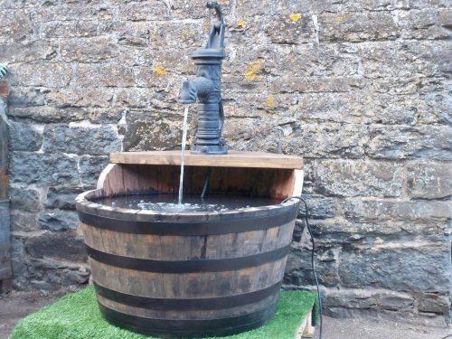 Large Shaped Single Tier Barrel Water Feature Stretton Oak Tubs