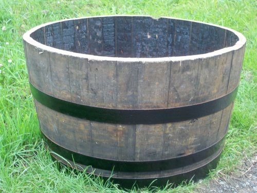 Half Oak Hoggie Barrel Planter With Painted Bands 72cm Diameter