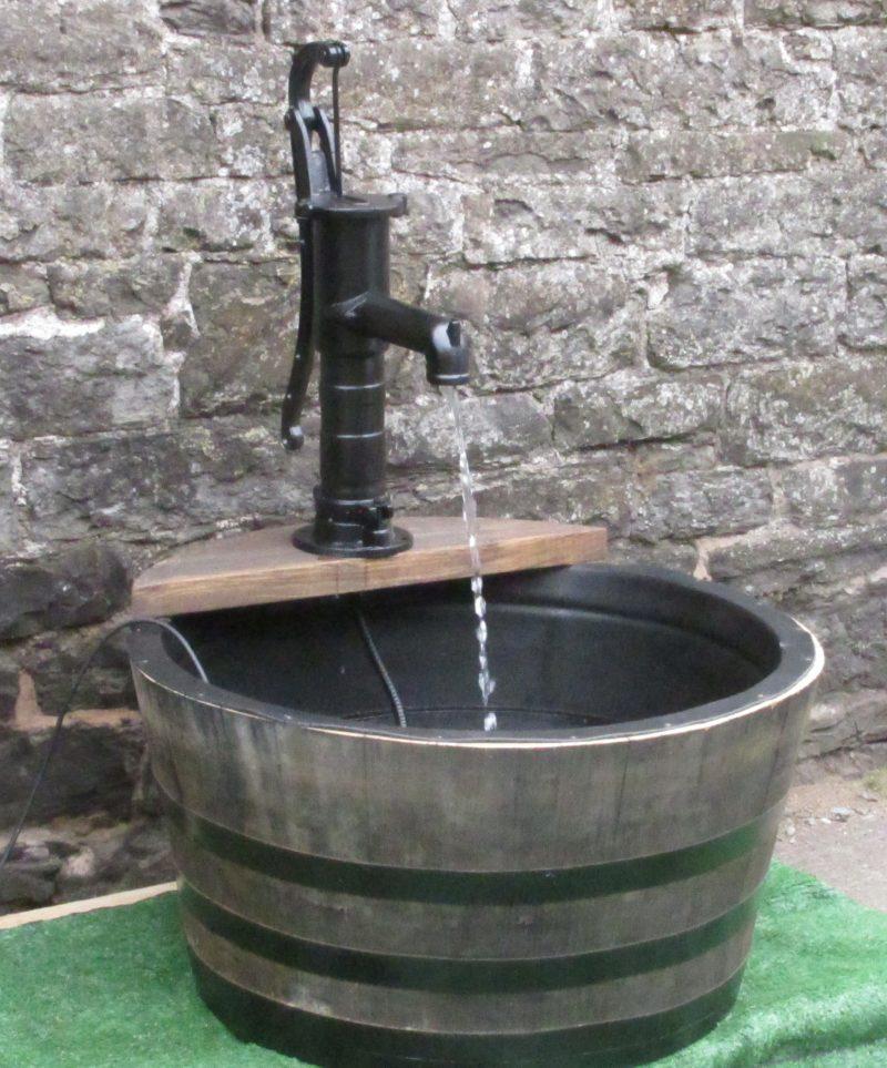 Single Tier Lined Butt Barrel Water Feature With Village Pump Stretton Oak Tubs