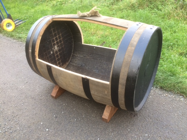 complete oak barrel planter