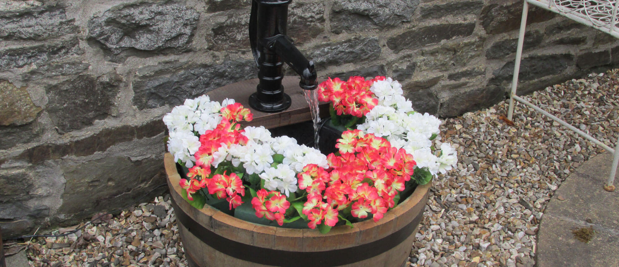 oak barrels water feature