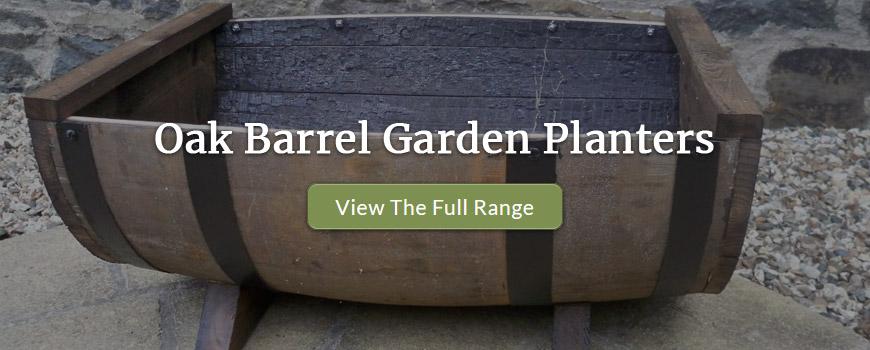 oak barrel garden planters